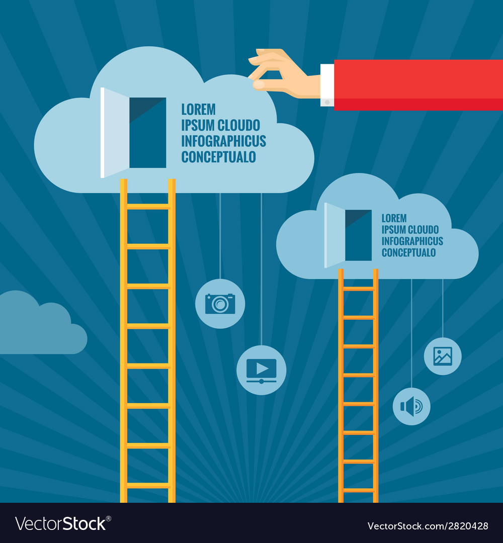 Ladders to clouds and open doors vector