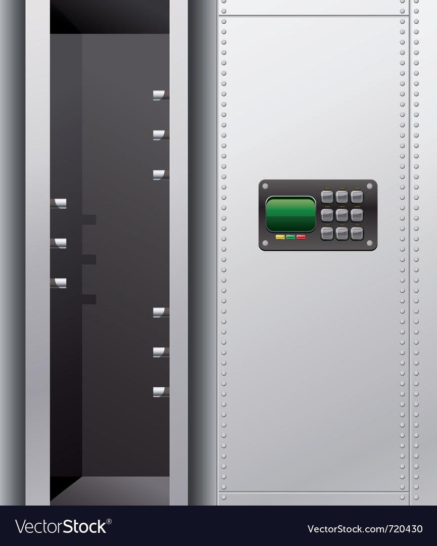 Empty metal safe with digital lock vector