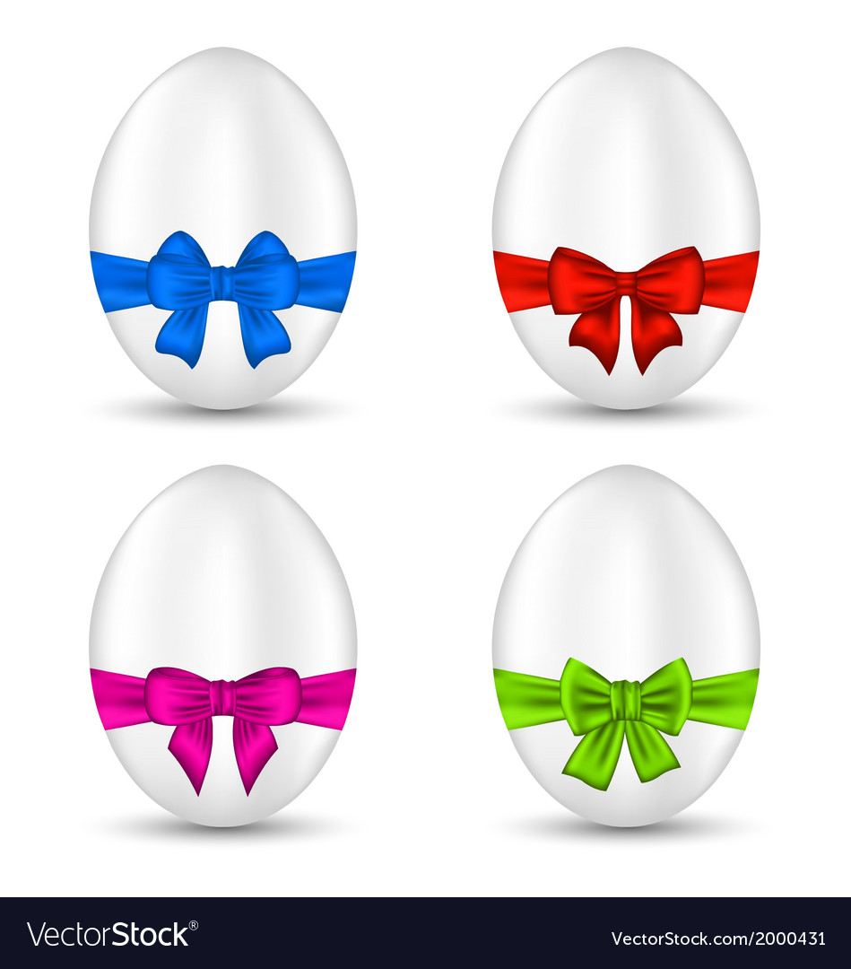 Easter set celebration eggs with colorful bows vector