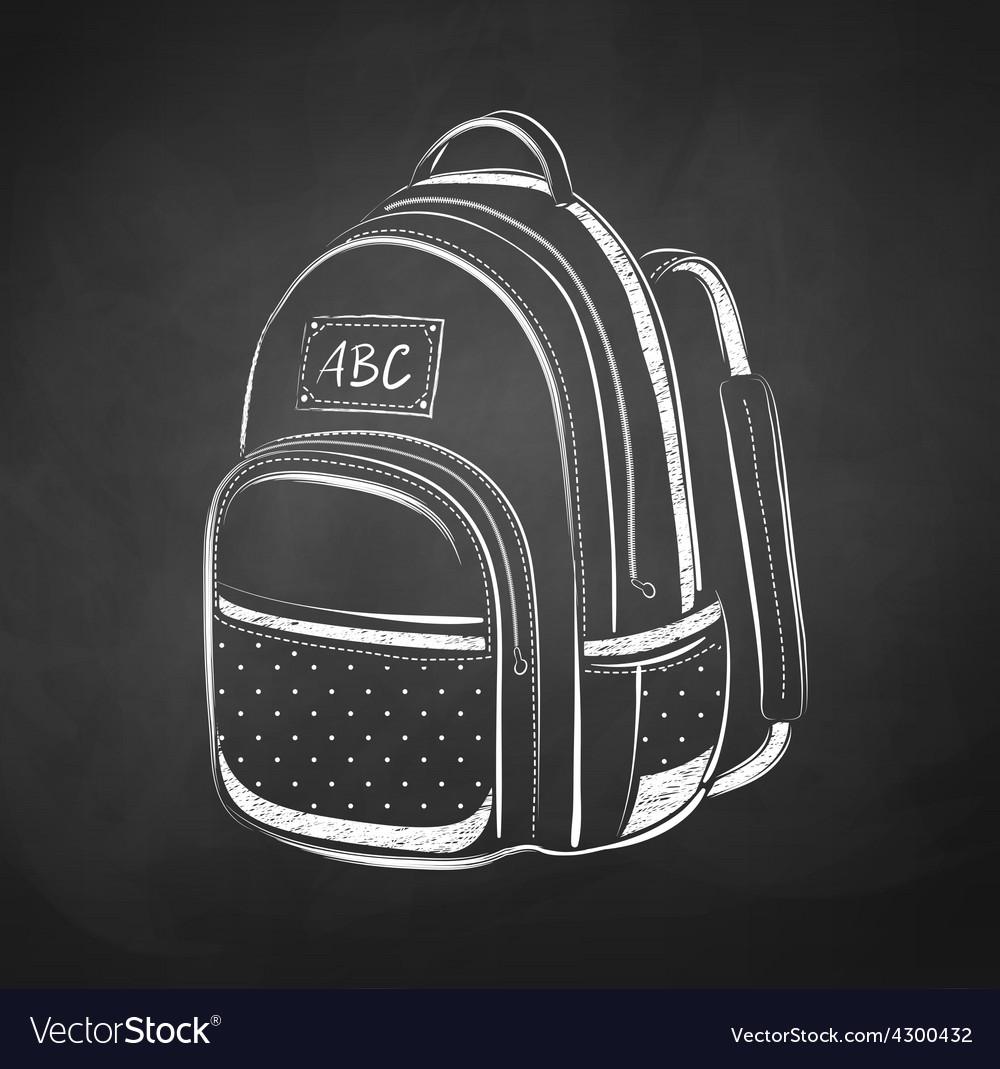 Chalkboard drawing of school bag vector
