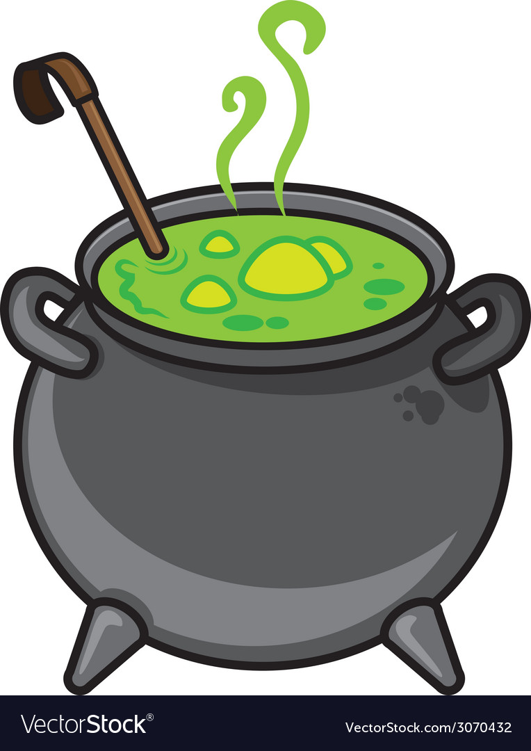 Halloween cartoon kettle with potion isolated on vector