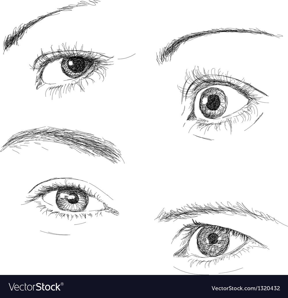 Hand drawn eyes vector