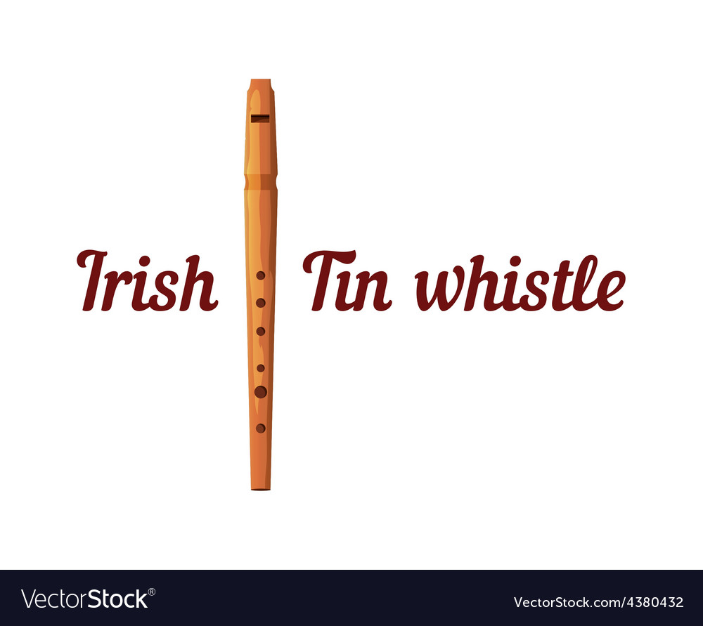 Wooden tin whistle vector
