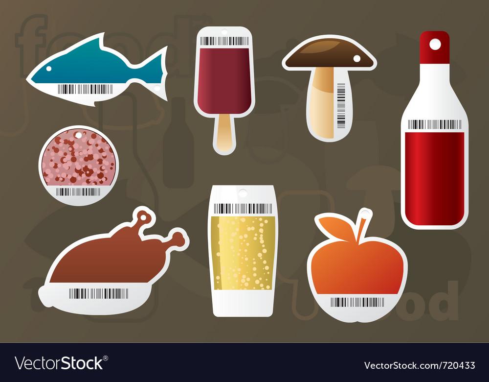 Set of food stickers vector