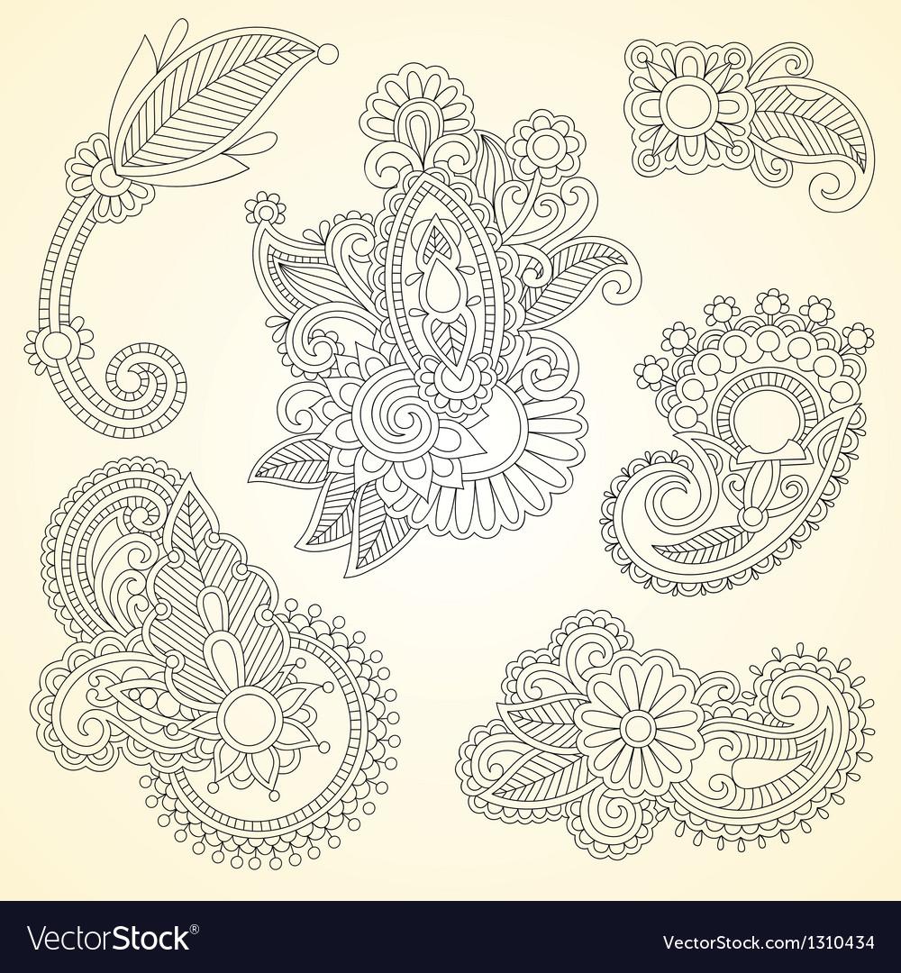 Black flowers doodle design element vector