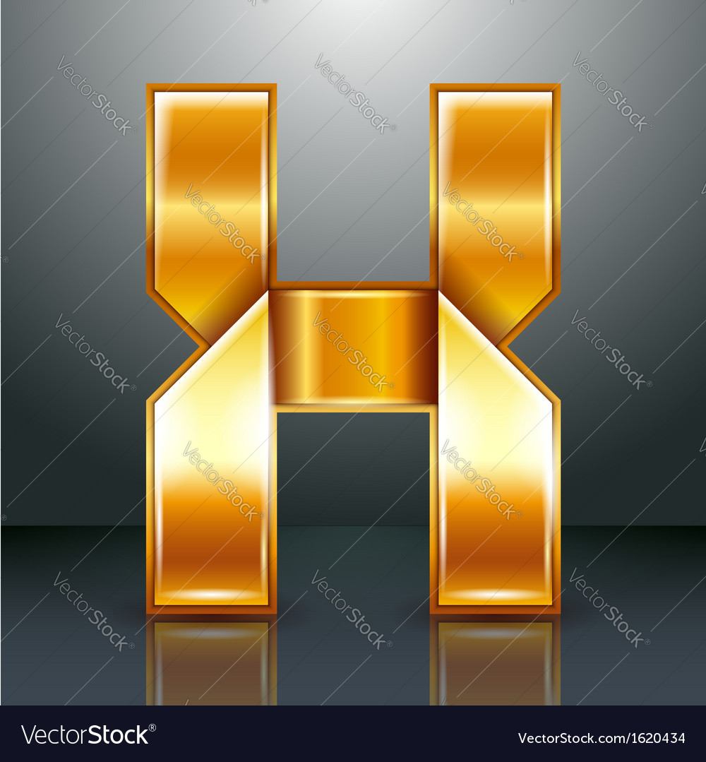 Letter metal gold ribbon - x vector