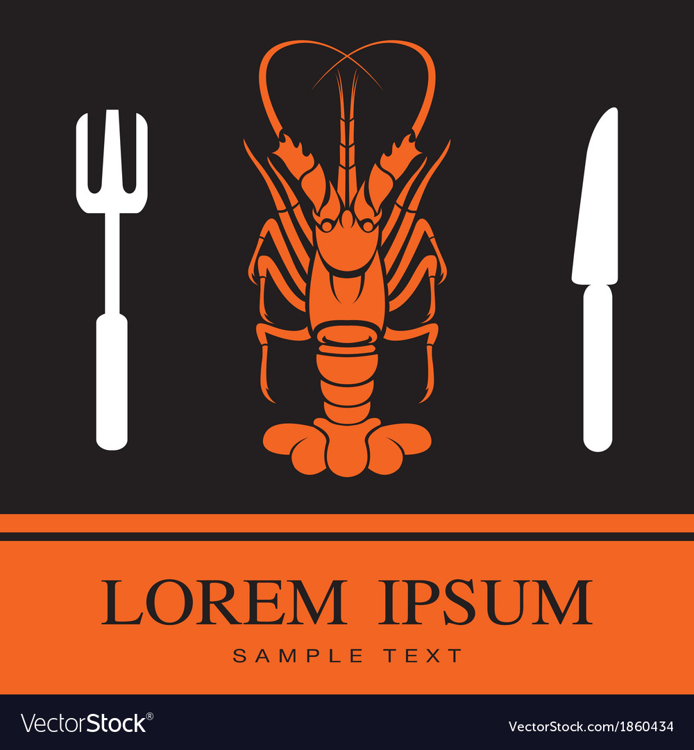 Lobster fork and knife icon vector