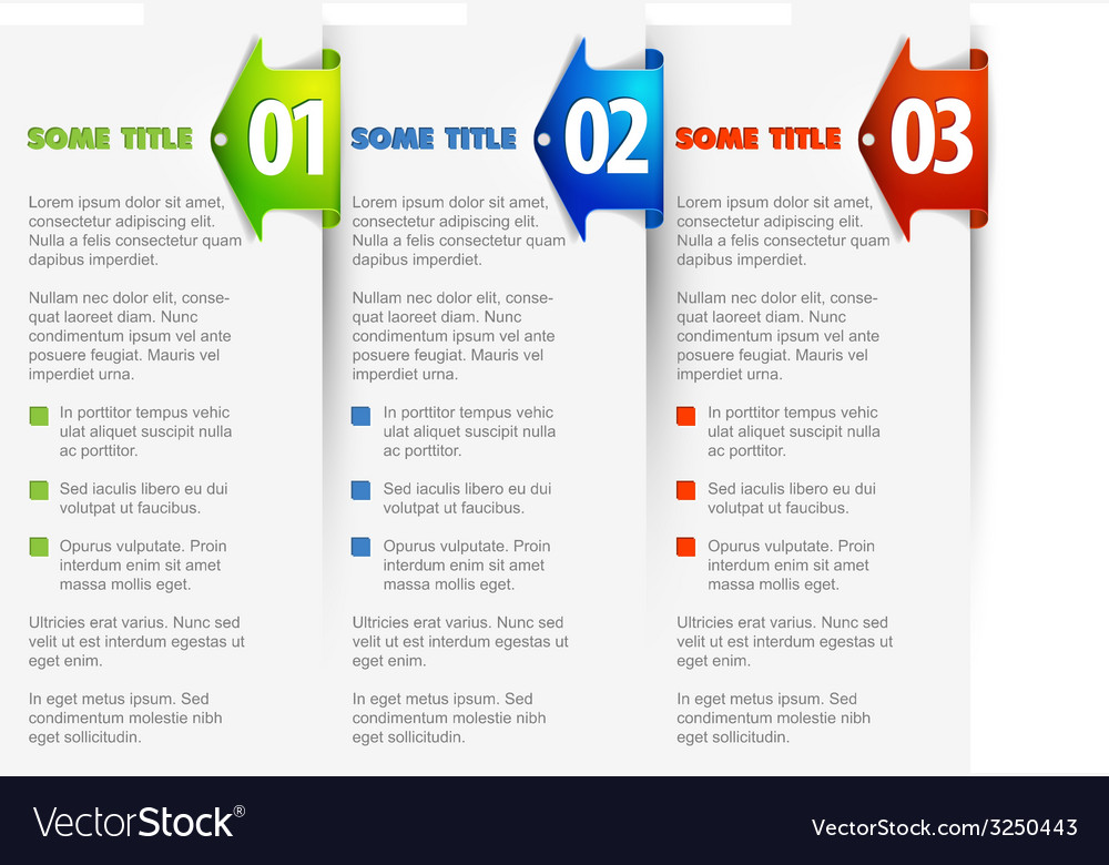 One two three - options with arrows background vector