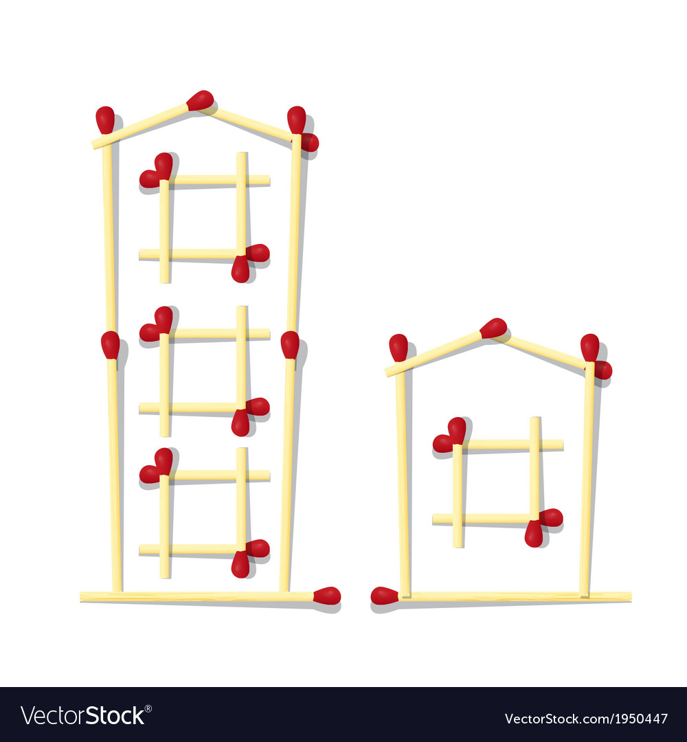 Houses symbols made from matches vector