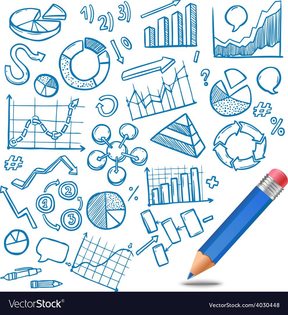 Charts and diagrams sketch vector