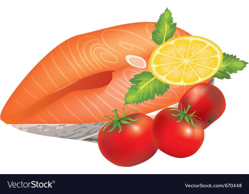 Salmon dish vector