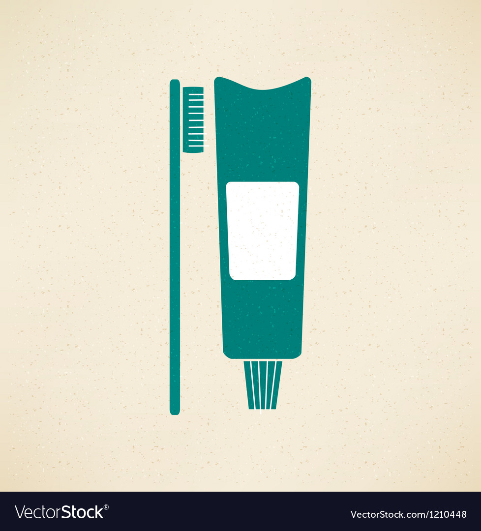 Toothpaste and toothbrush icon vector