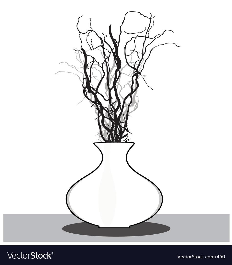 Vase with twigs vector