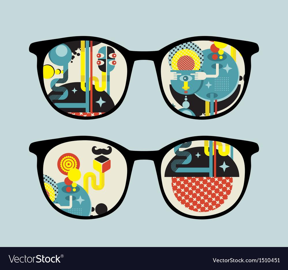 Retro sunglasses with alien reflection in it vector