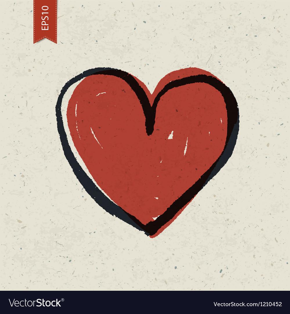 Heart symbol on paper vector
