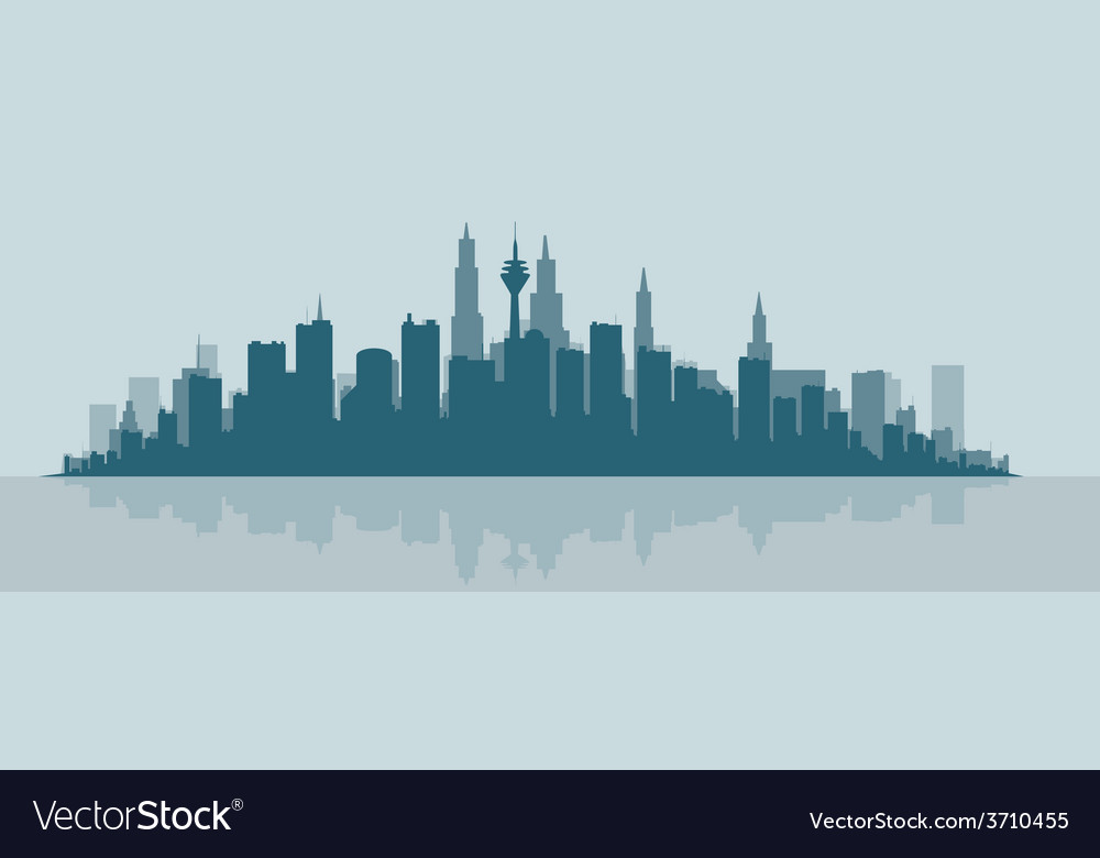 Contour of the big city at the ocean vector