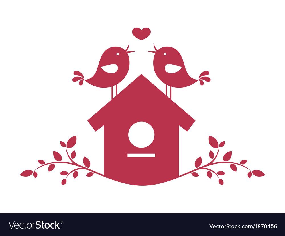 Birds in love vector