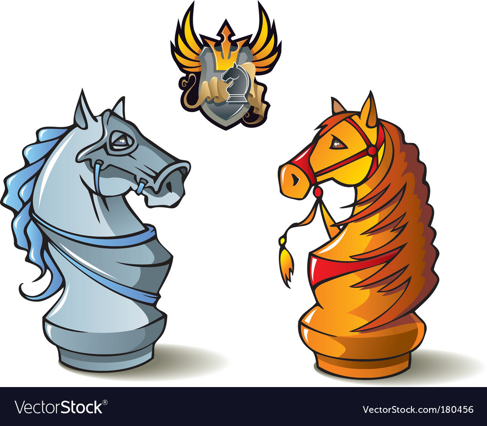 Chess set knights vector
