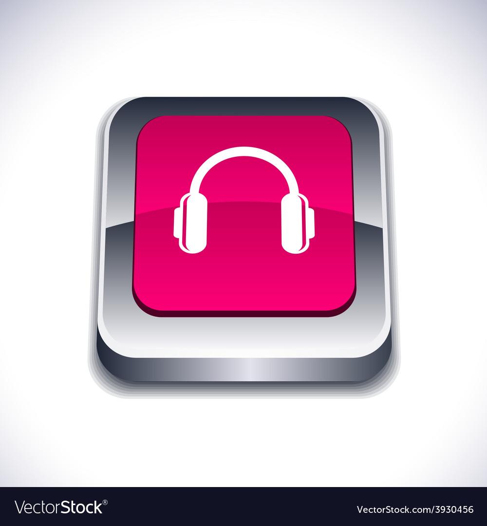 Headphones 3d button vector