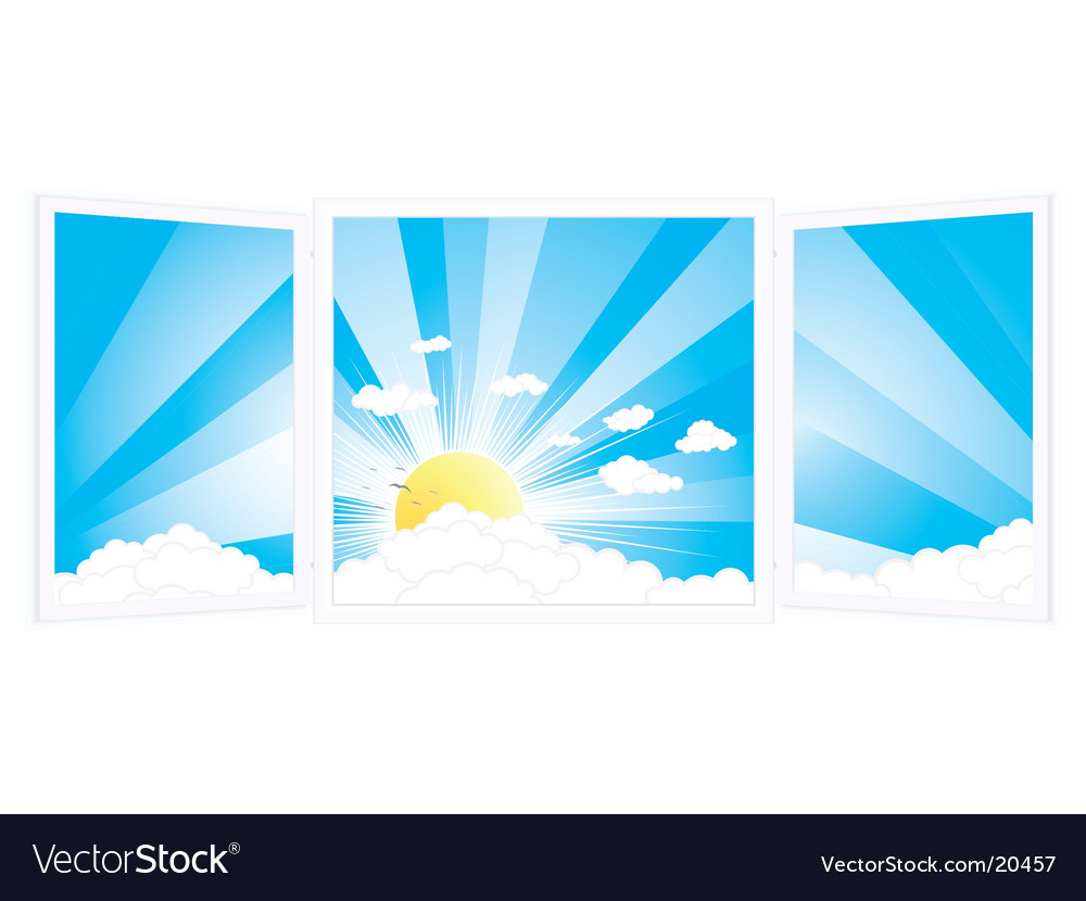 Room window with peaceful scenery vector