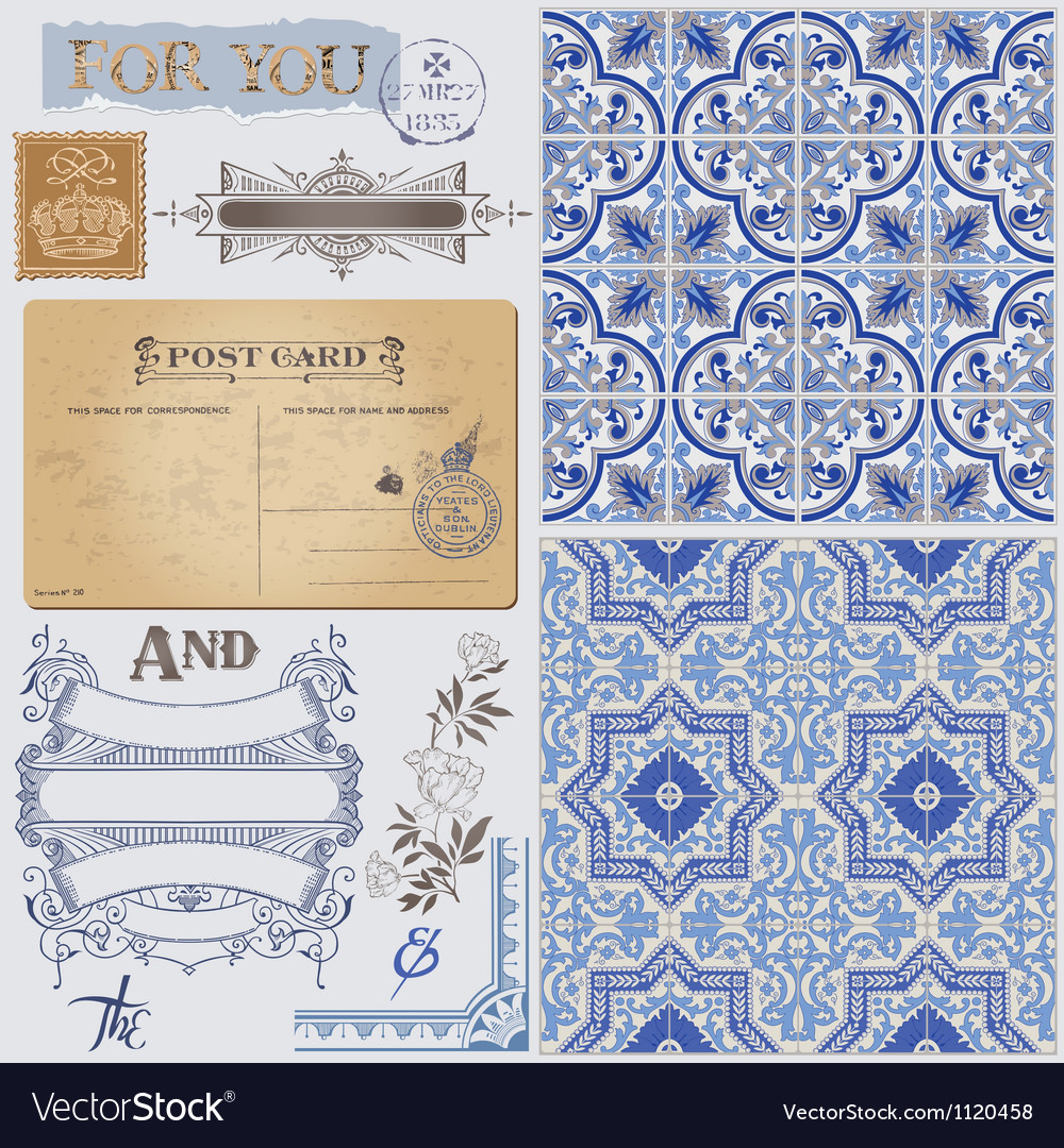 Design elements - vintage postcard vector