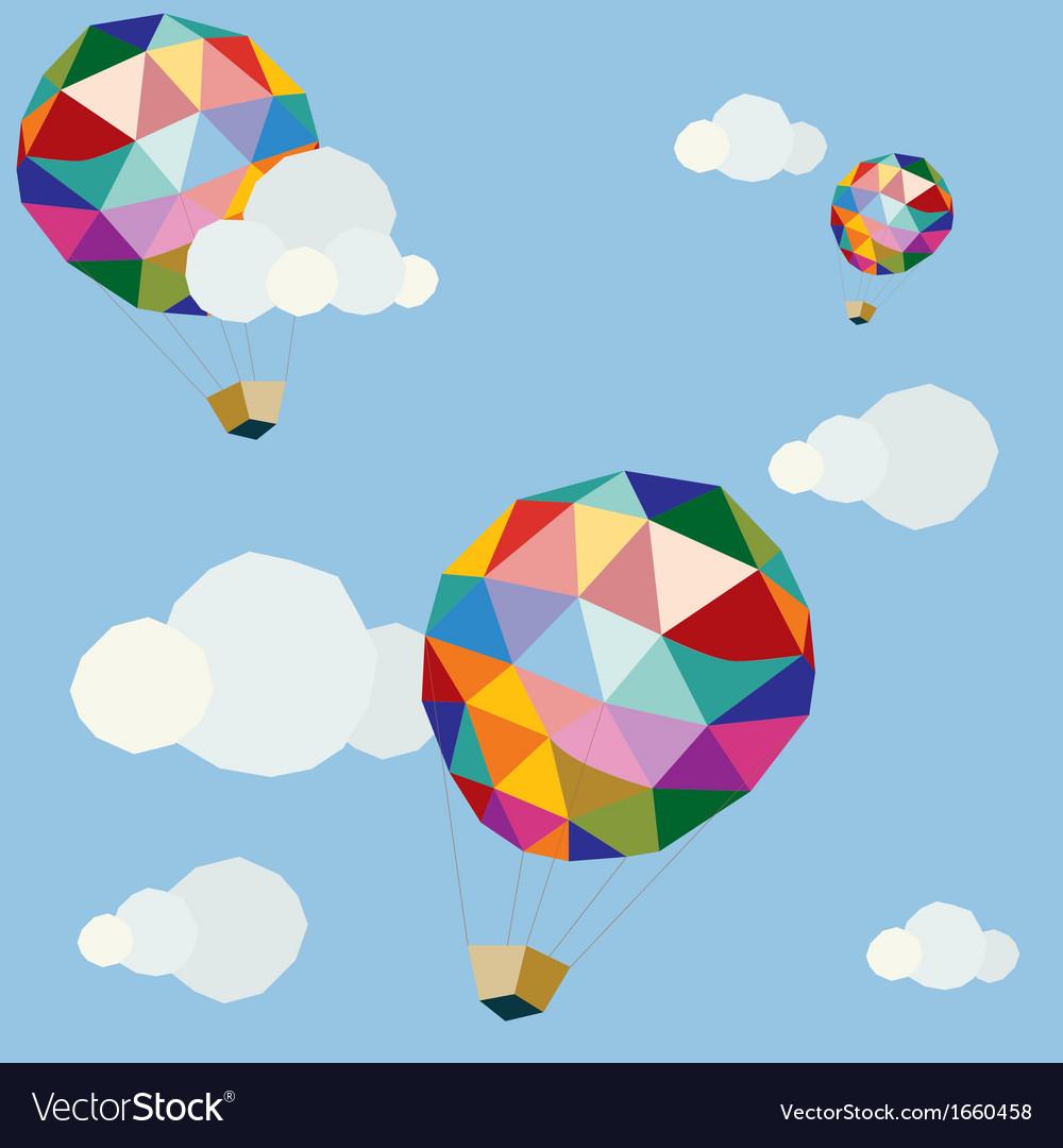 Polygonal balloons in blue sky vector