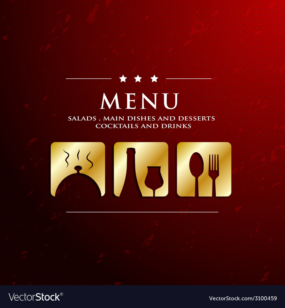Menu restaurant with golden icon in ground vector