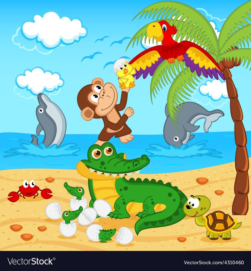 Animals found in eggs crocodile egg parrot vector