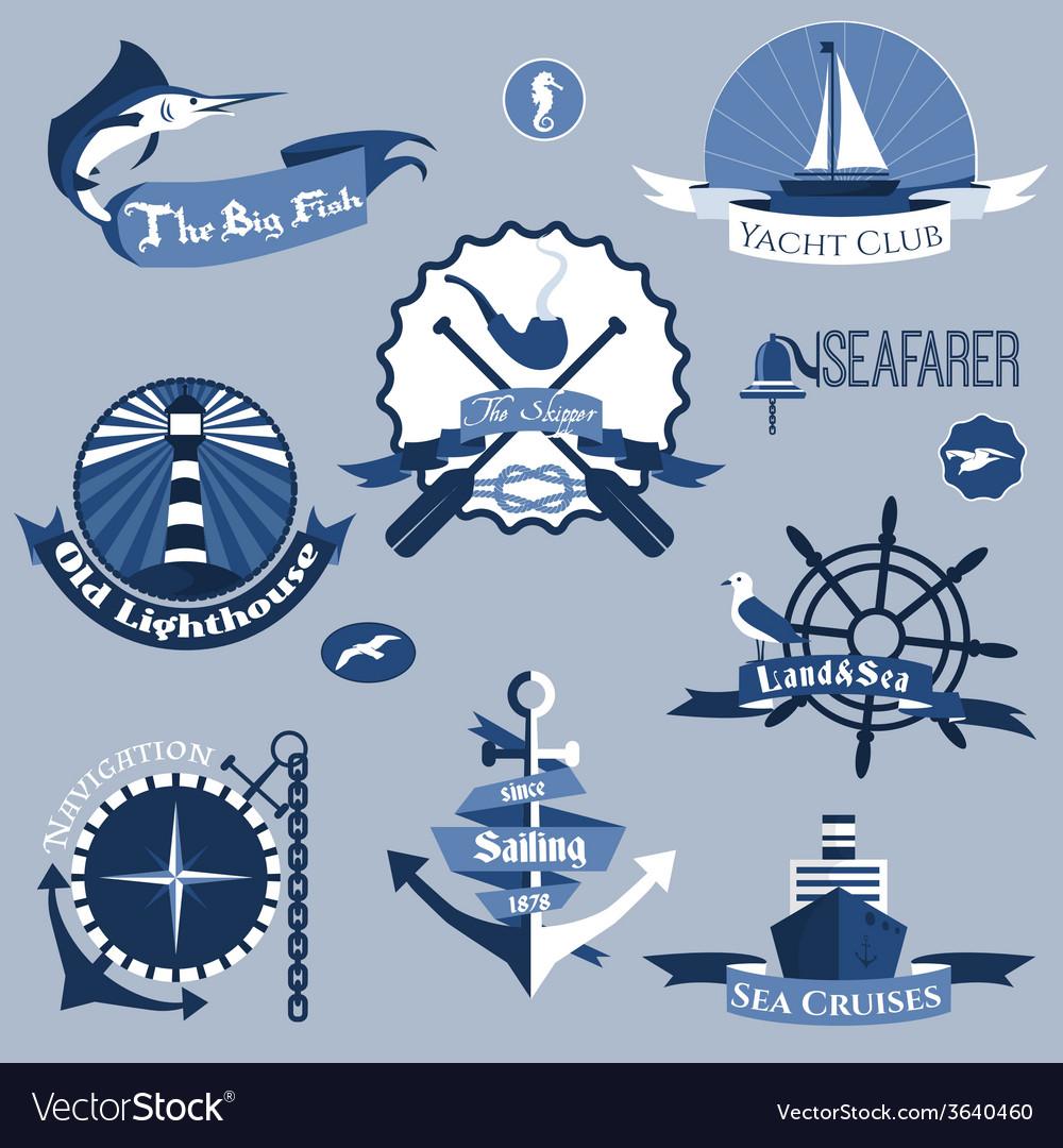 Sea labels set vector