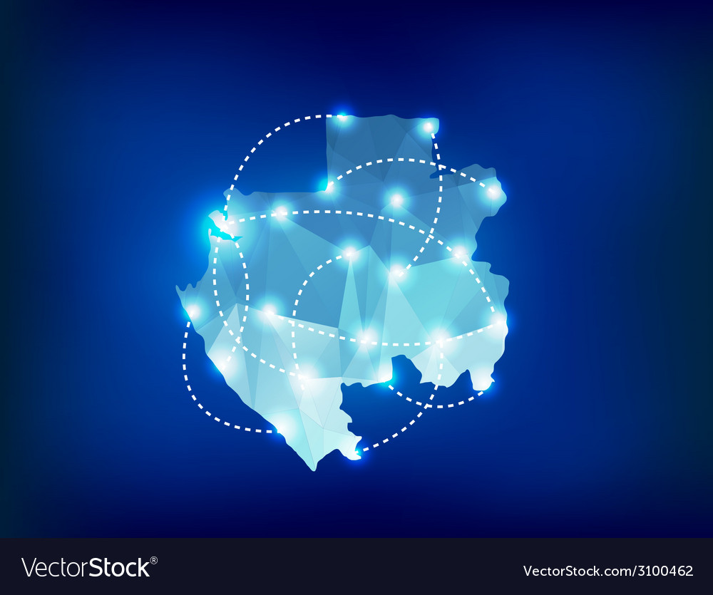 Gabon country map polygonal with spot lights place vector