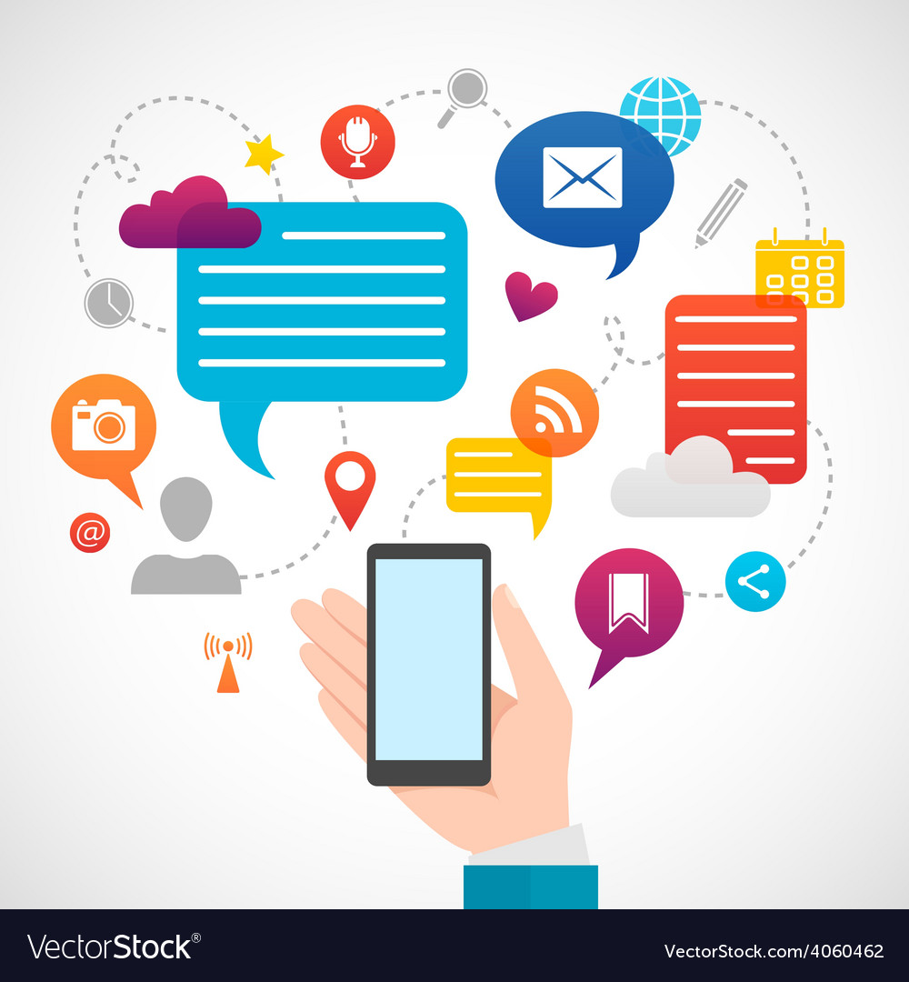 Mobile social network media concept vector