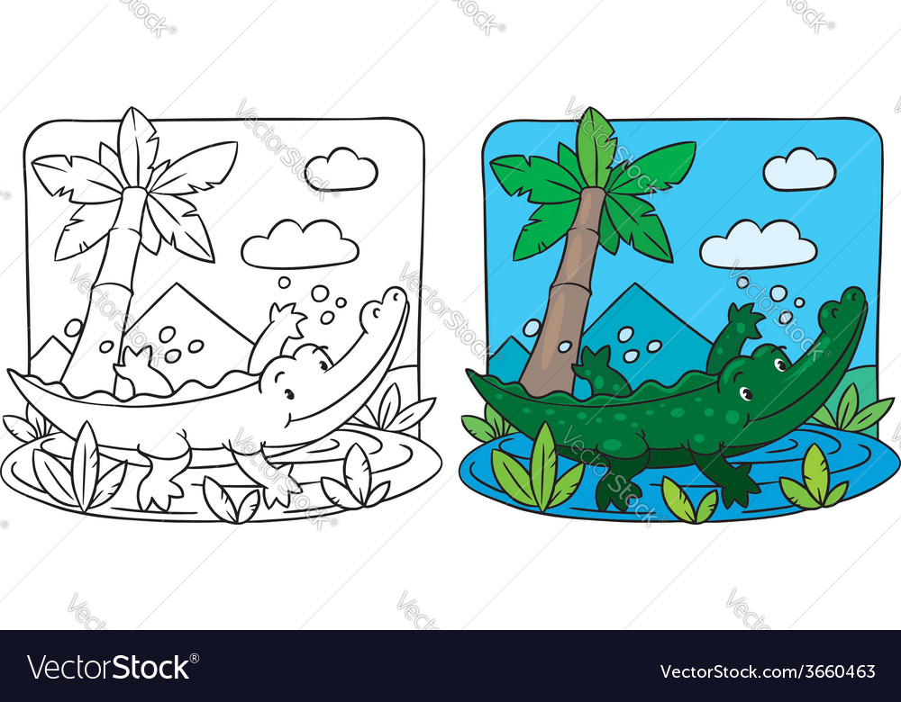 Little crocodile coloring book vector