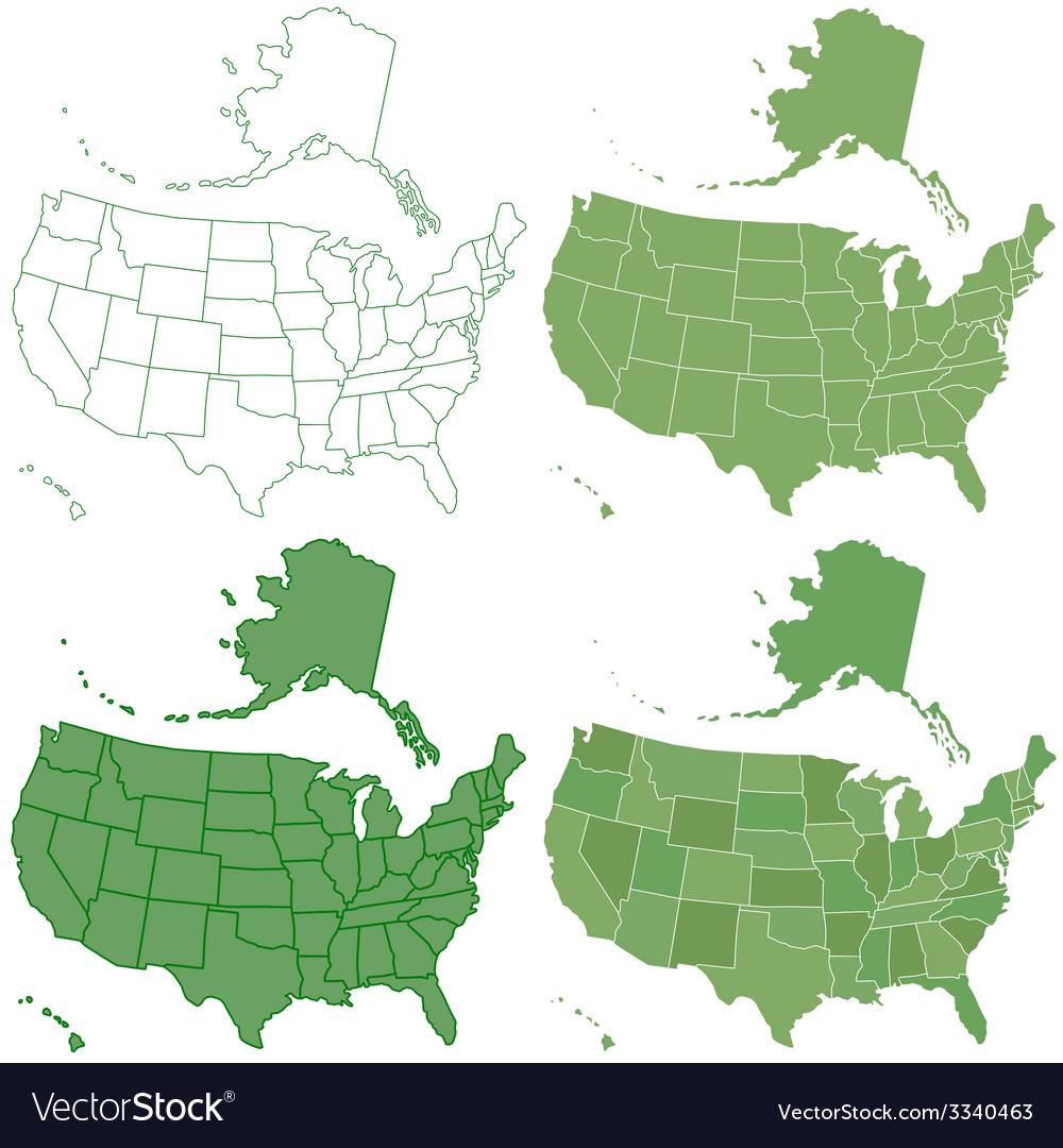 Usa map set vector