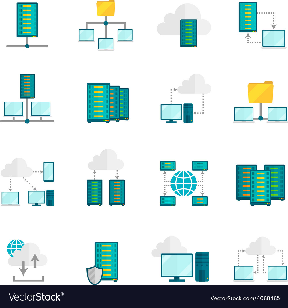 Hosting service flat icons set vector