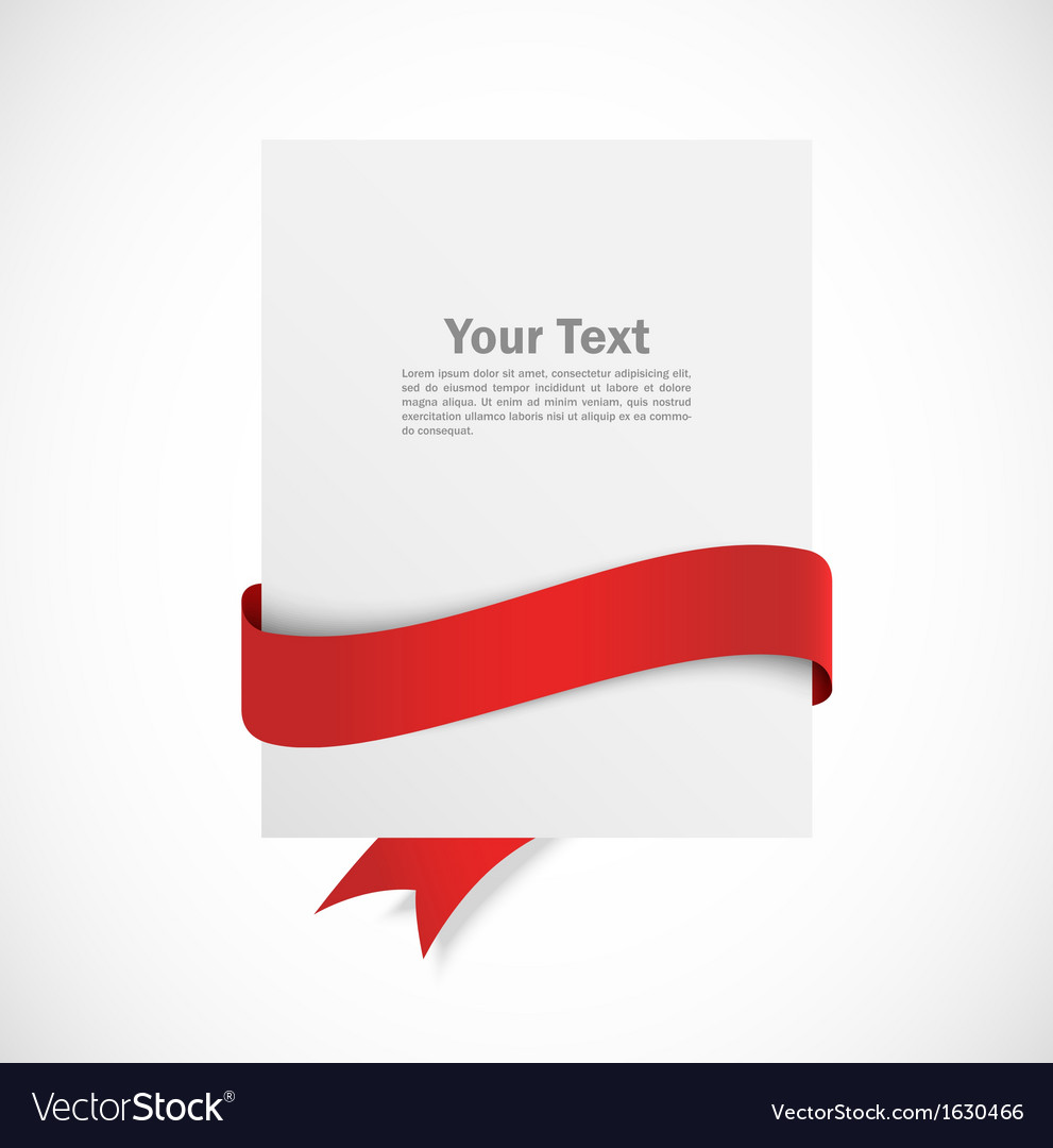 Banner with red ribbon vector