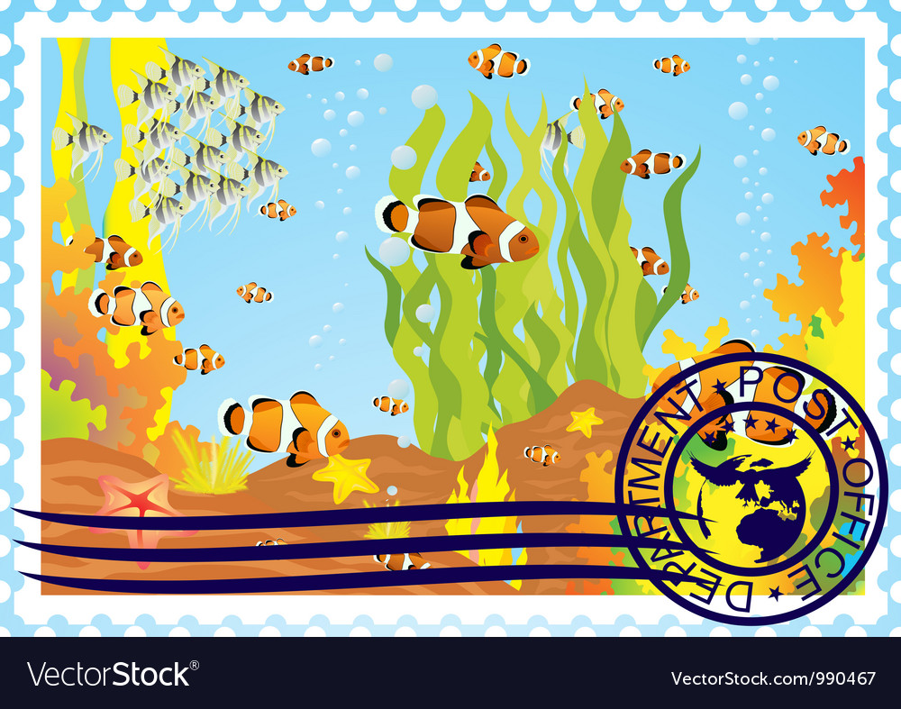 Postage stamp with the underwater world vector