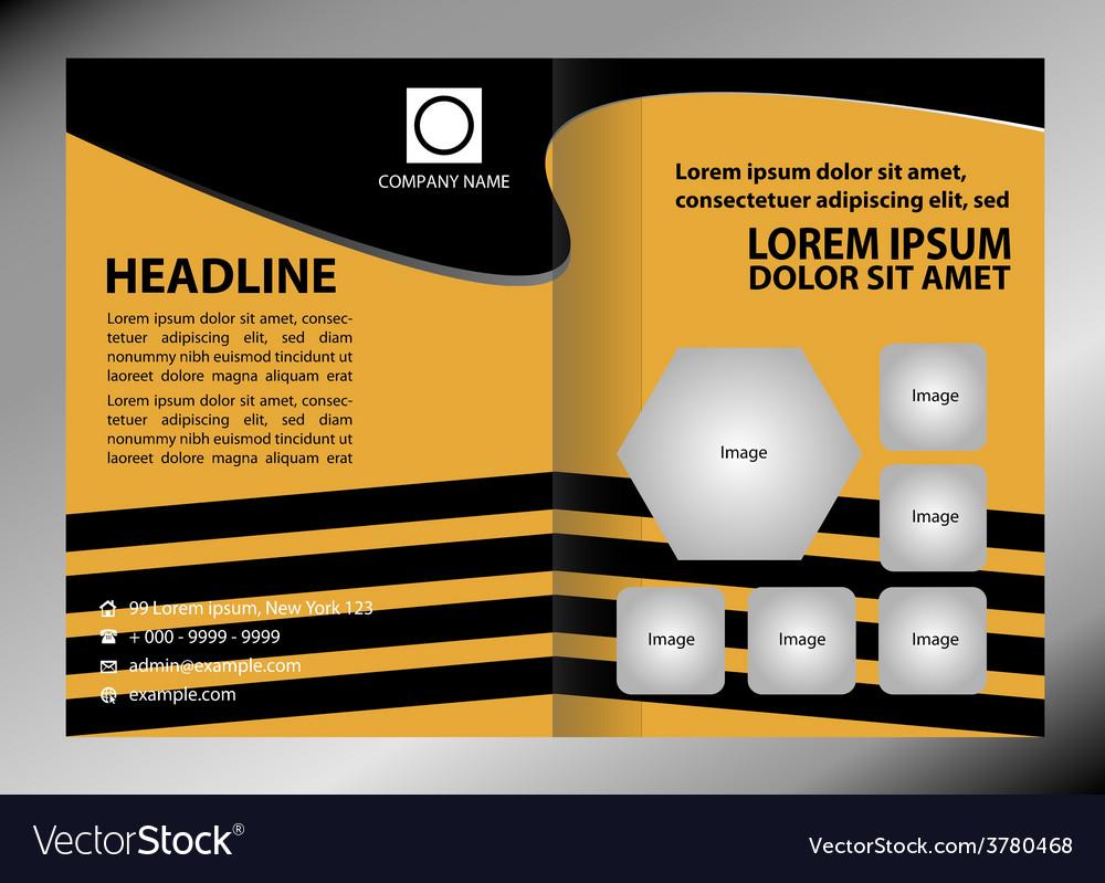 Empty brochure template design with black vector