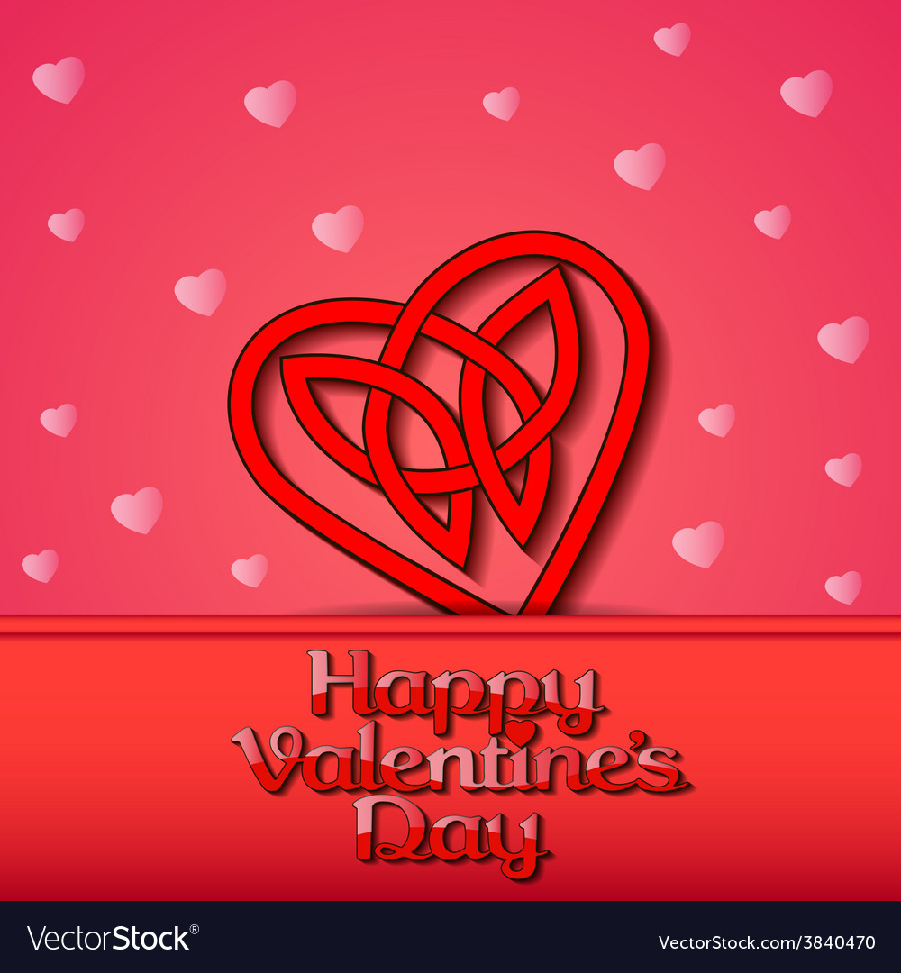 Festive background with hearts of celtic weave vector