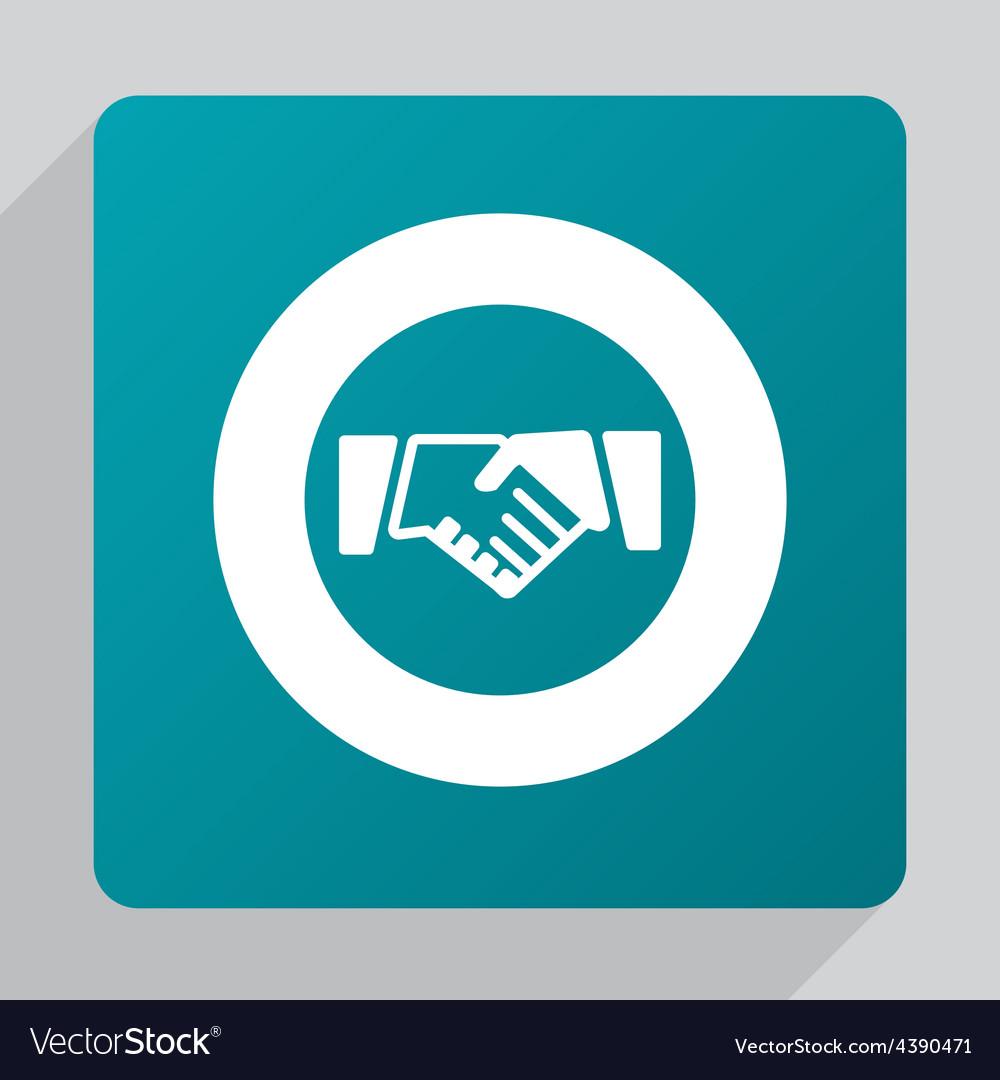 Flat handshake icon vector