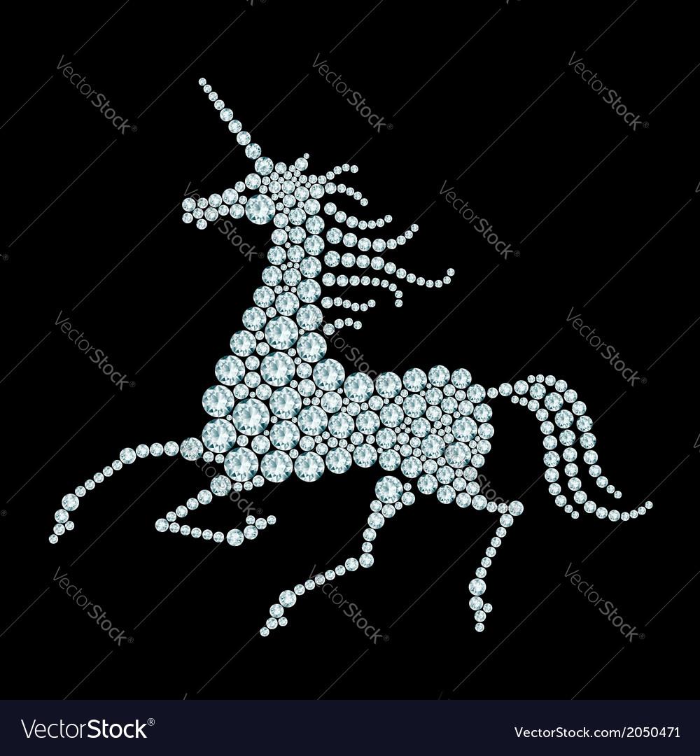 Running unicorn diamond composition vector