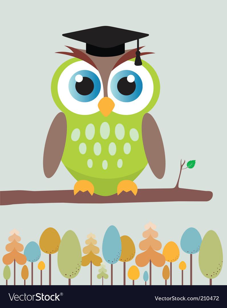 Owl with mortar board hat vector