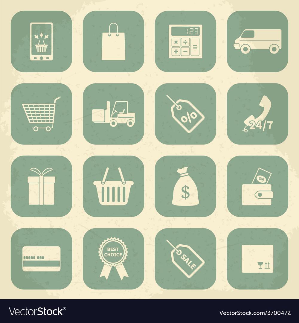 Retro shopping icons vector