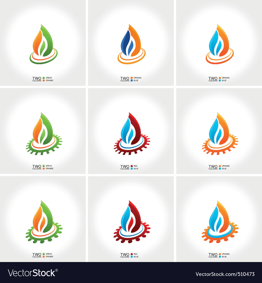 business emblem fire water set icon vector