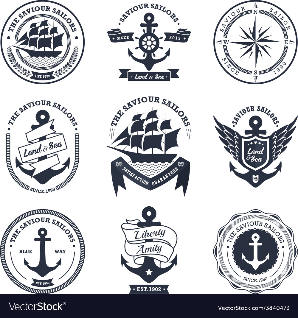 Vintage retro nautical vector