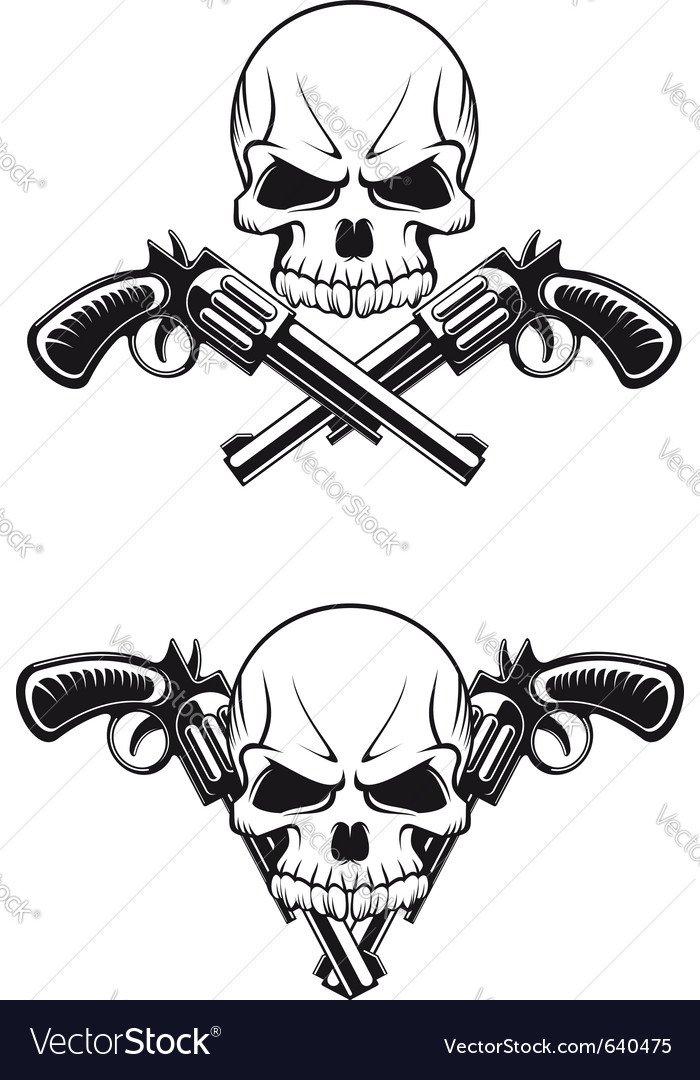 Skull with revolvers vector
