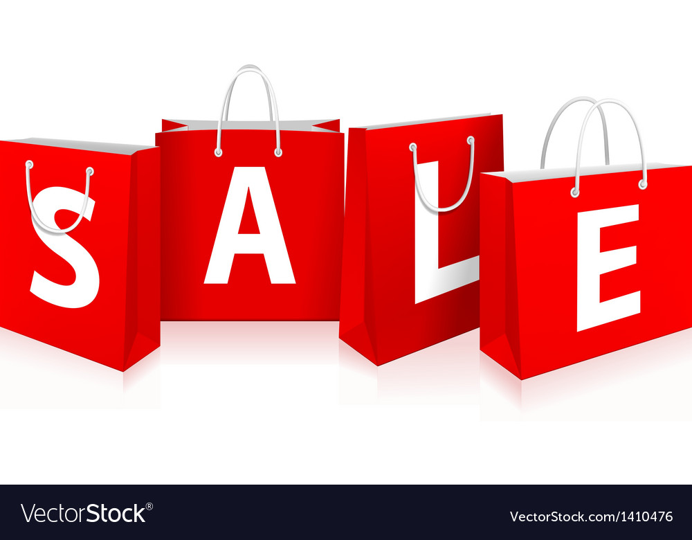 Red shopping bags vector