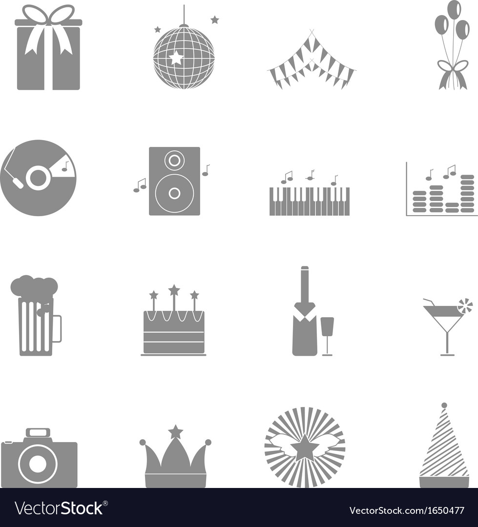 Party and celebration icons set on white vector
