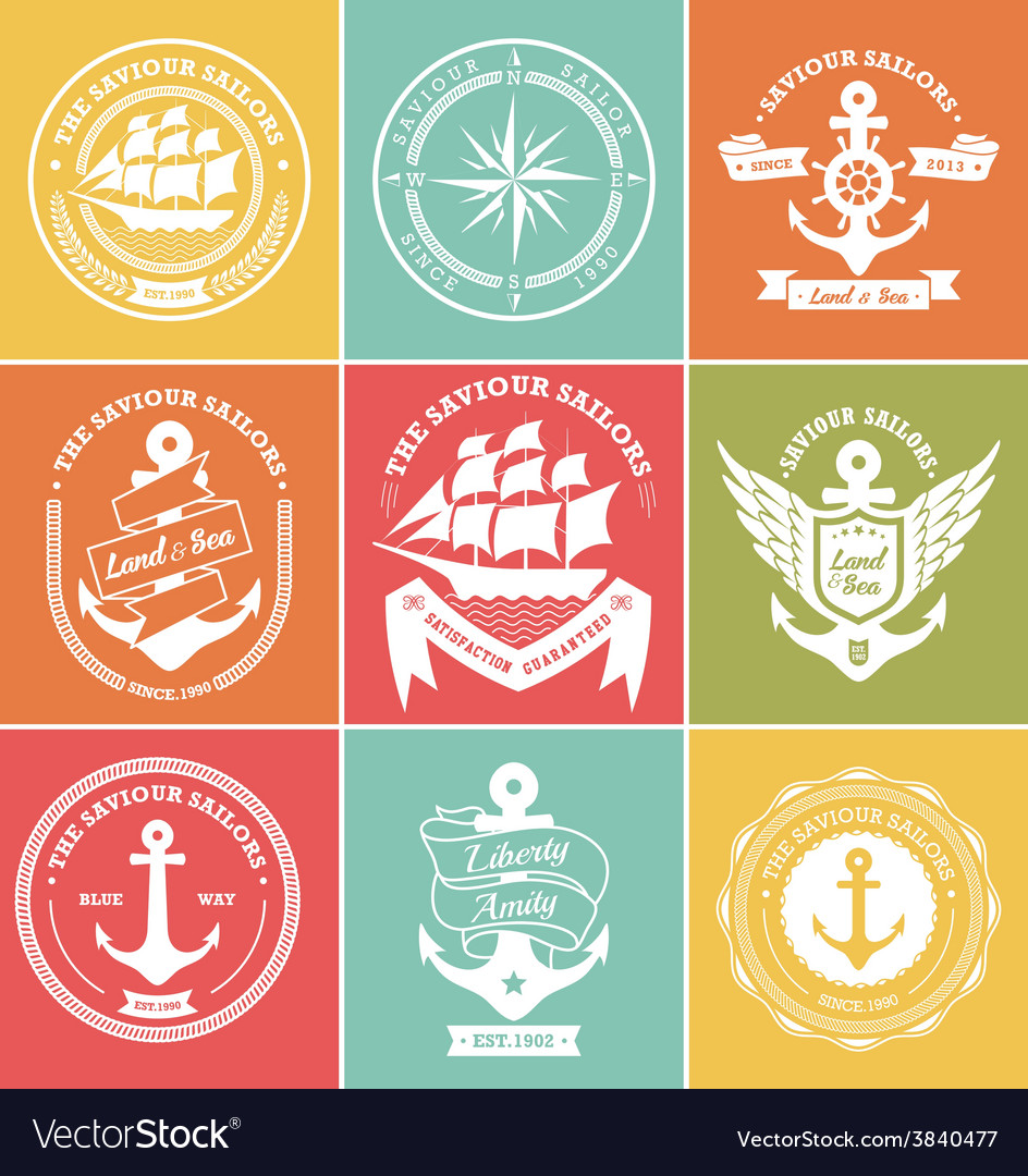 Vintage retro nautical symbols and icons vector