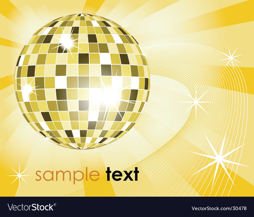 Retro disco ball background vector