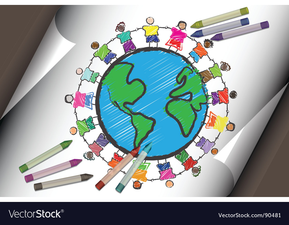 Multi-cultural children vector